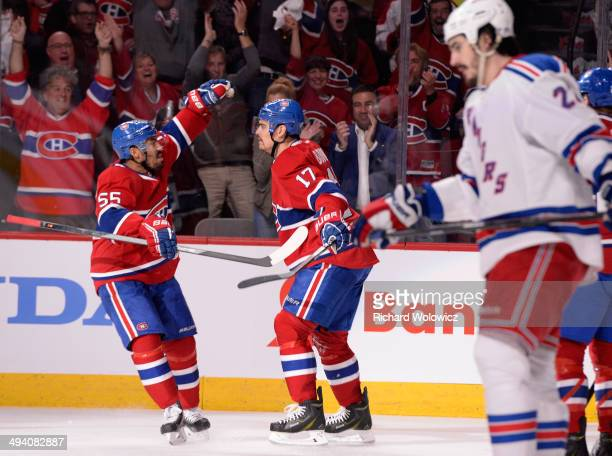 Rene Bourque of the Montreal Canadiens celebrates his second period goal at 6:54 against the New York Rangers during Game Five of the Eastern...