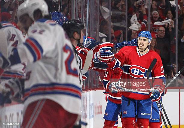 Rene Bourque of the Montreal Canadiens celebrates his second period goal at 654 against the New York Rangers during Game Five of the Eastern...