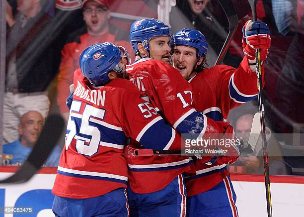 Rene Bourque of the Montreal Canadiens celebrates his second period goal at 1510 against the New York Rangers during Game Five of the Eastern...