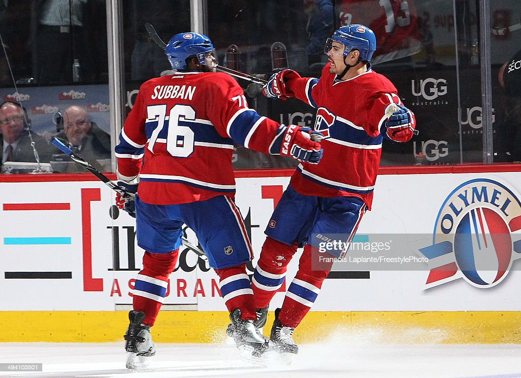 Rene Bourque #17 of the Montreal Canadiens celebrates with P.K. Subban #76 after his third goal of the game in the third period at 6:33 against the New York Rangers during Game Five of the Eastern Conference Final in the 2014 NHL Stanley Cup Playoffs at Bell Centre on May 27, 2014 in Montreal, Canada.
