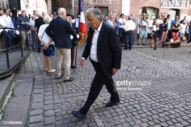 Rene Bouscatel is seen at the burial of Pierre Camou in Saint Jean Pied de Port during the Funeral of former rugby player Pierre Camou on August 18...