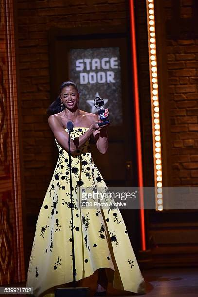 Renée Elise Goldsberry winner of Best Performance by an Actress in a Featured Role in a Musical for Hamilton at THE 70TH ANNUAL TONY AWARDS live from...