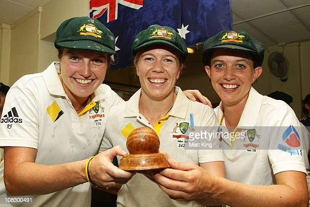 Rene Farrell Alex Blackwell and Sarah Elliott of Australia pose with the Ashes trophy after winning the match during day four of the Women's CBA Test...