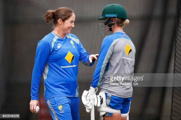 Rene Farrell and Beth Mooney during a Southern Stars training session at Melbourne Cricket Ground on February 18 2017 in Melbourne Australia