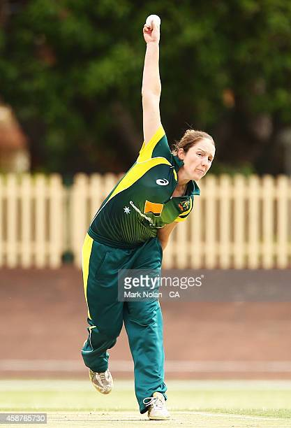 Rene Farrell of Australia bowls during game one of the women's One Day International series between Australia and the West Indies at Hurstville Oval...