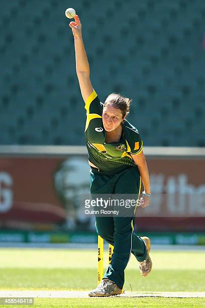 Rene Farrell of Australia bowls during game three of the International Women's Twenty20 match between Australia and the West Indies at Melbourne...