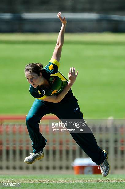 Rene Farrell of Australia bowls during the women's International Twenty20 match between Australia and the West Indies at North Sydney Oval on...