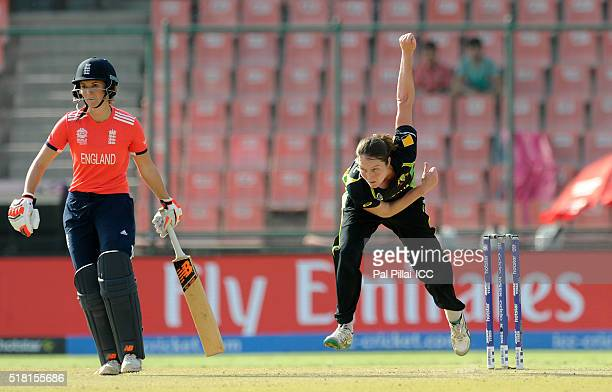 Rene Farrell of Australia bowls during Women's ICC World Twenty20 India 2016 Semi Final match between England and Australia at the Feroz shah Kotla...