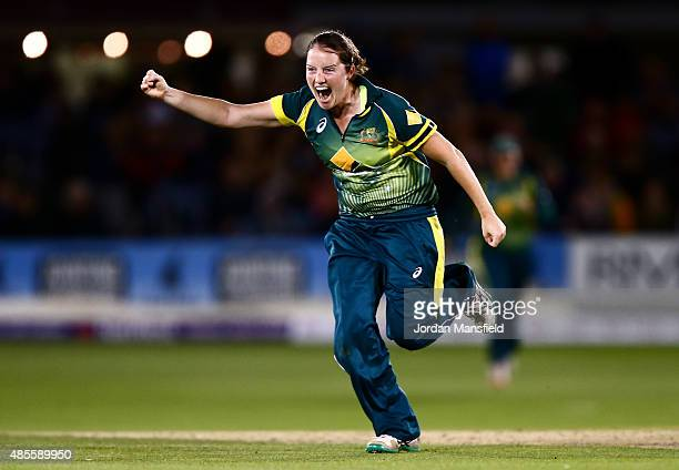 Rene Farrell of Australia celebrates after getting the wicket of Lydia Greenway of England to win the Ashes during the 2nd NatWest T20 of the Women's...