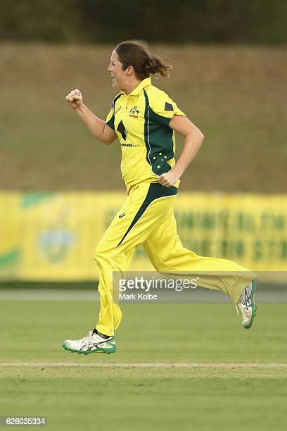 Rene Farrell of Australia celebrates taking the wicket of Sune Luus of South Africa during the women's One Day International match between the...
