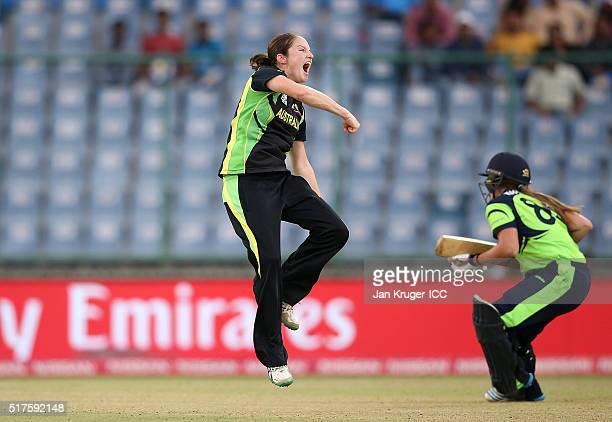Rene Farrell of Australia celebrates the wicket of Robyn Lewis of Ireland during the Women's ICC World Twenty20 India 2016 match between Australia...