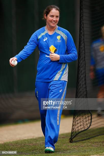 Rene Farrell prepares to bowl during a Southern Stars training session at Melbourne Cricket Ground on February 18 2017 in Melbourne Australia