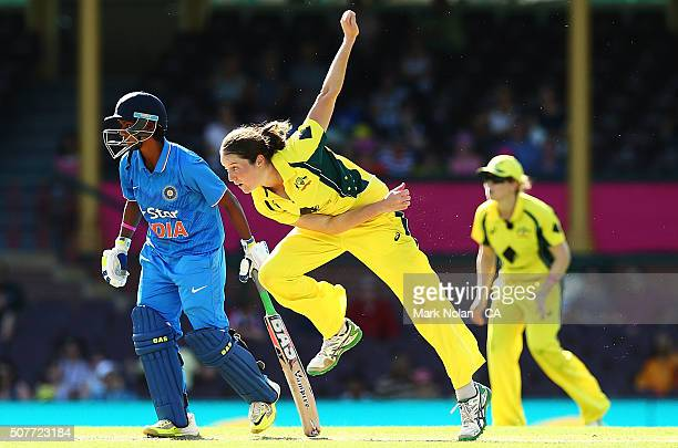 Rene Ferrell of Australia bowls during the International Twenty20 match between Australia and India at Sydney Cricket Ground on January 31 2016 in...