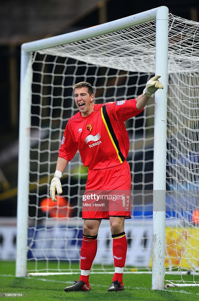 Rene Gilmartin of Watford shouts instructins during the FA Cup Sponsored by E.ON 4th Round match between Watford and Brighton & Hove Albion at Vicarage Road on January 29, 2011 in Watford, England.