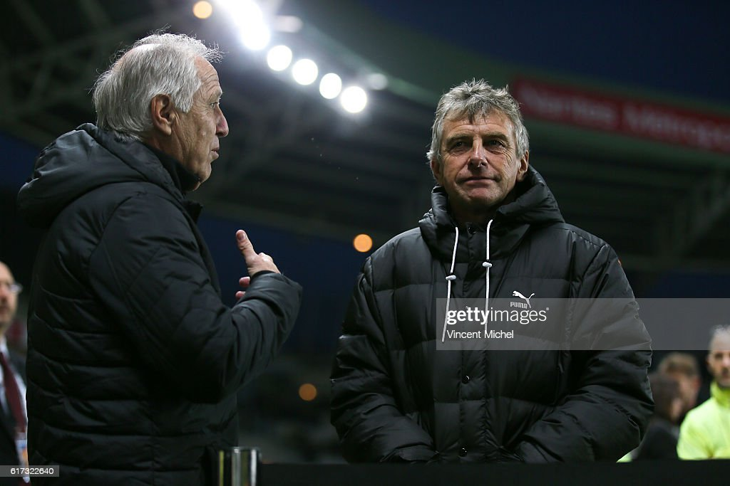 Rene Girard, headcoach of Nantes and Christian Gourcuff headcoach of Rennes during the Ligue 1 match between FC Nantes and Stade Rennais at Stade de la Beaujoire on October 22, 2016 in Nantes, France.