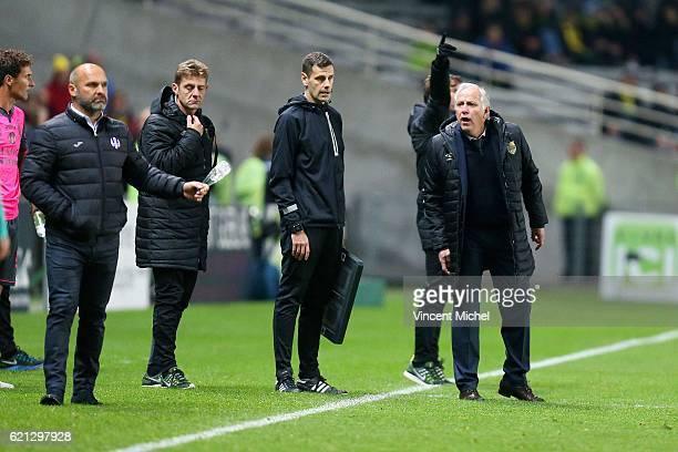 Rene Girard headcoach of Nantes and Pascal Dupraz headcoach of Toulouse during the Ligue 1 match between Fc Nantes and Toulouse Fc at Stade de la...
