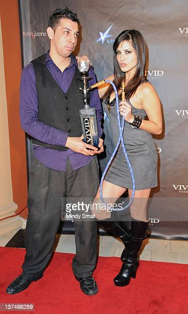 Rene Gonzales and Sunny Leone attend Adult Entertainment Expo After Party at Crazyhorse III at Playground on January 20 2012 in Las Vegas Nevada