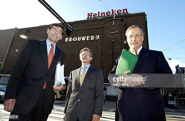 Rene Hooft Graafland left chief financial officer of Heineken NV David Hazelwood center director of corporate finance and Chief Executive Anthony...