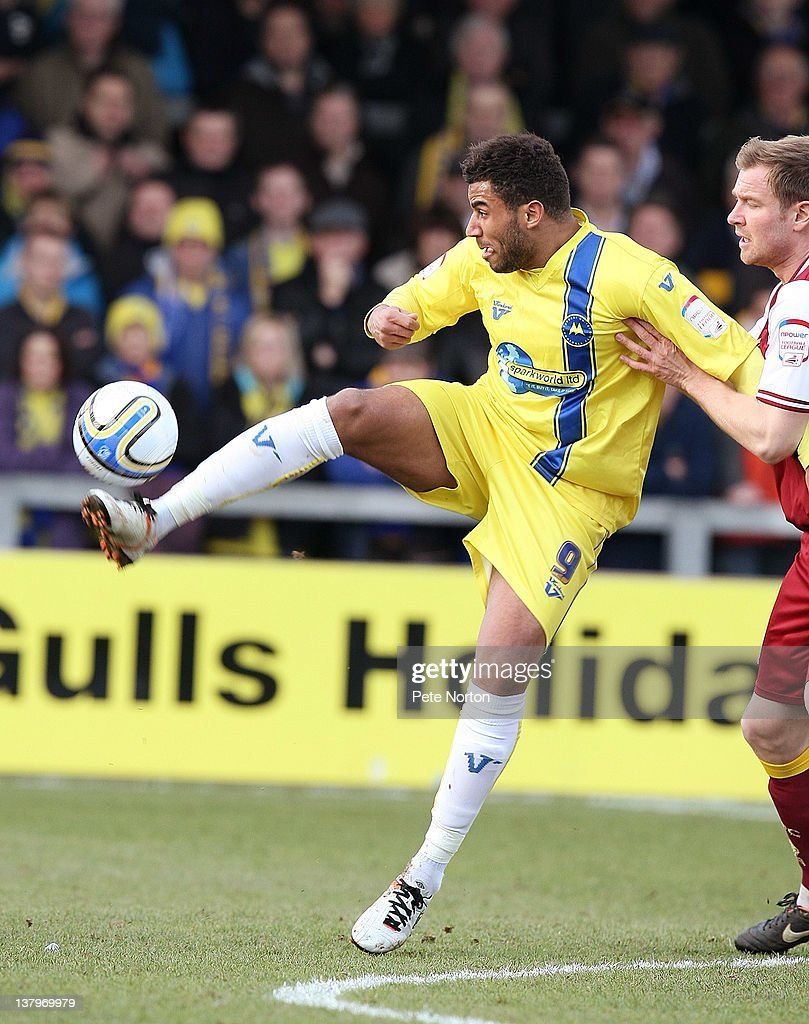 Rene Howe of Torquay United attempts to control the ball during the npower League Two match between Torquay United and Northampton Town at Plainmoor on January 28, 2012 in Torquay, England.