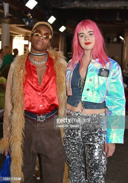 Rene JeanMarie and Girli attend the Fashion East front row during London Fashion Week September 2018 at the My Beautiful City Show Space on September...