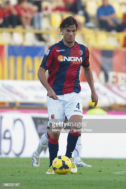 Rene Khrin of Bologna FC in action during the Serie A match between Bologna FC and AS Livorno Calcio at Stadio Renato Dall'Ara on October 27 2013 in...
