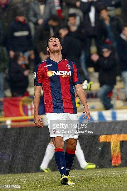 Rene Khrin of Bologna FC reacts during the Serie A match between Bologna FC and Genoa CFC at Stadio Renato Dall'Ara on December 22 2013 in Bologna...