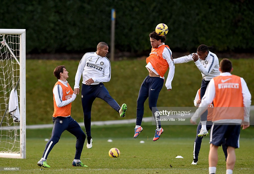 Rene Krhin (C) during FC Internazionale Training Session at Appiano Gentile on December 06, 2014 in Como, Italy.