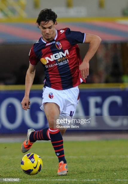 Rene Krhin of Bologna in action during the Serie A match between Bologna FC and ACF Fiorentina at Stadio Renato Dall'Ara on February 26 2013 in...