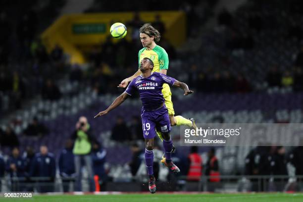 Rene Krhin of Nantes and Somalia of Toulouse during the Ligue 1 match between Toulouse and Nantes at Stadium Municipal on January 17 2018 in Toulouse