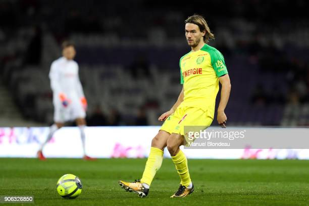 Rene Krhin of Nantes during the Ligue 1 match between Toulouse and Nantes at Stadium Municipal on January 17 2018 in Toulouse