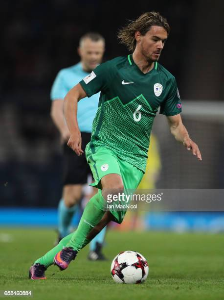 Rene Krhin of Slovinia is seen during the FIFA 2018 World Cup Qualifier between Scotland and Slovenia at Hampden Park on March 26 2017 in Glasgow...