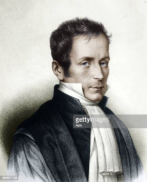 Rene Laennec french doctor inventor of the stethoscope engraving colorized document