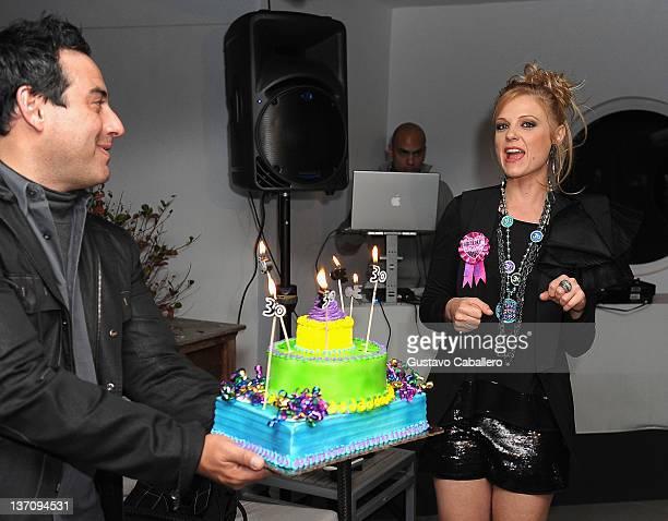 Rene Lavan and Ana Layevska's attends Ana Layevska's birthday party at the Breakwater Hotel on January 14 2012 in Miami Beach Florida