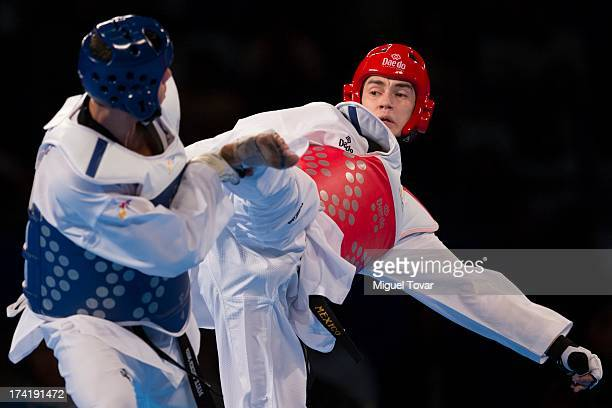 Rene Lizarraga of Mexico competes with Steven Lopez during a Men's 80 kg combat of WTF World Taekwondo Championships 2013 at the exhibitions Center...