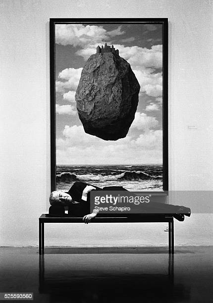 Rene Magritte during his exhibit at the New York Metropolitan Museum of Art