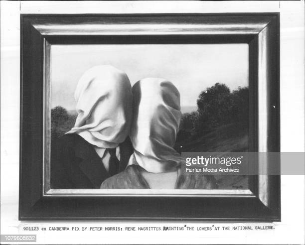 Rene Magrittes painting The Lovers at the National Gallery November 23 1990