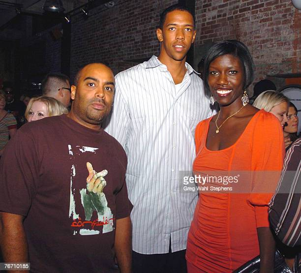 Rene McLean and Bozoma Saint John pose with Portland Trail Blazer Channing Frye at the Diet Pepsi Serves You a Premium Good featuring the Nort bottle...