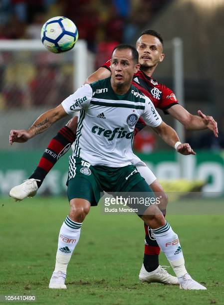 Rene of Flamengo struggles for the ball with Guerra of Palmeiras during a match between Flamengo and Palmeiras as part of Brasileirao Series A 2018...