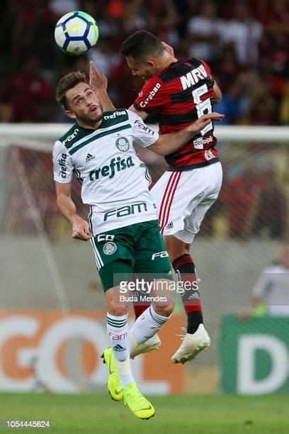 Rene of Flamengo struggles for the ball with Hyoran of Palmeiras during a match between Flamengo and Palmeiras as part of Brasileirao Series A 2018...