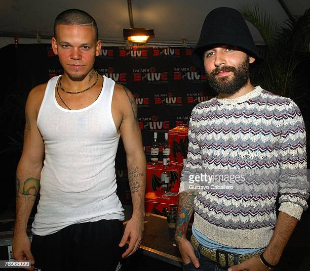 Rene Perez aka Residente and Eduardo Cabra aka Visitante of Calle 13 pose at theSteiner Studios September 22 2007 in the Brooklyn borough of New York...