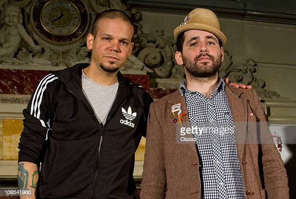 Rene Perez and Eduardo Cabra of Puerto Rican duo Calle 13 during a press conference on November 4 2010 in Mexico City Mexico