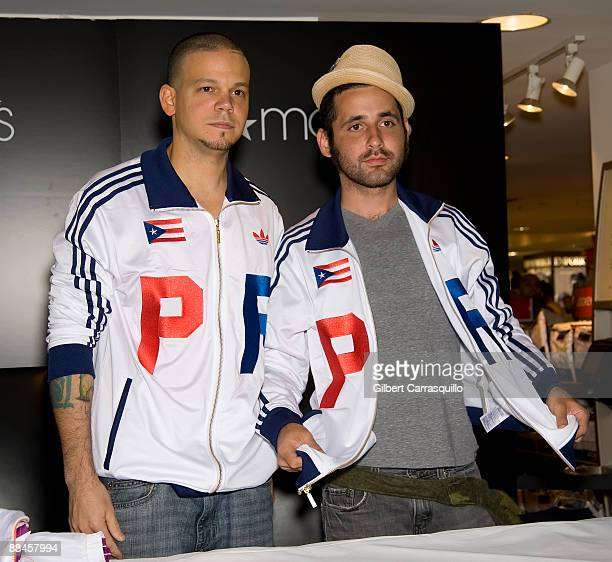 Rene Perez Joglar Residente and Eduardo Jose Cabra Martinez Visitante visit Macy's Herald Square on June 12 2009 in New York City