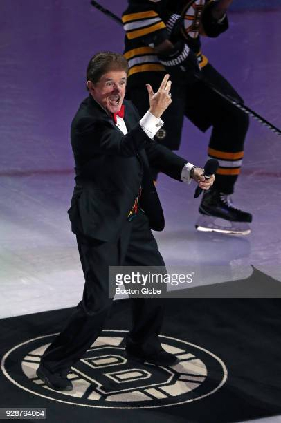Rene Rancourt does his famous post anthem singing routine The Boston Bruins hosted the Ottawa Senators in a regular season NHL hockey game at TD...