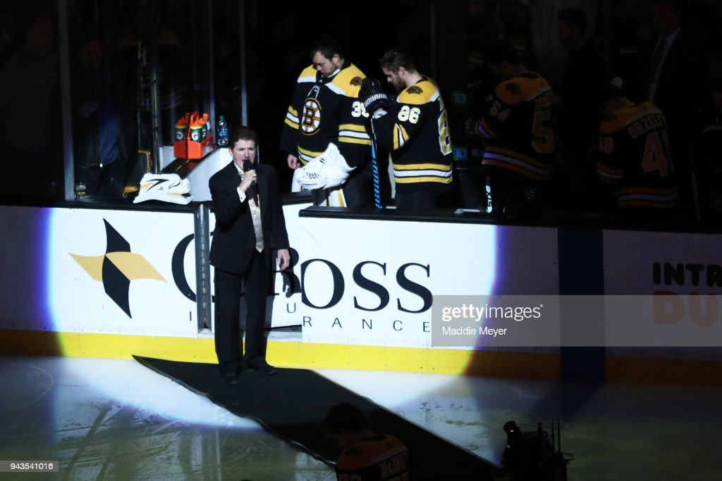 Rene Rancourt sing the national anthem before the game between the Boston Bruins and the Florida Panthers at TD Garden on April 8, 2018 in Boston, Massachusetts.