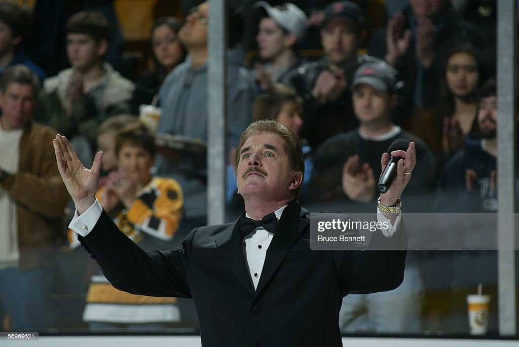 Rene Rancourt sings the National Anthem before the Carolina Hurricanes game against the Boston Bruins on February 5, 2006 at TD Banknorth Garden in Boston, Massachusetts. The Hurricanes won 4-3 in a shootout.