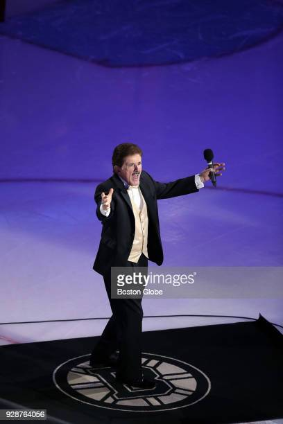 Rene Rancourt starts his signature reaction after he sang the national anthem before the game The Boston Bruins hosted the Florida Panthers in a...