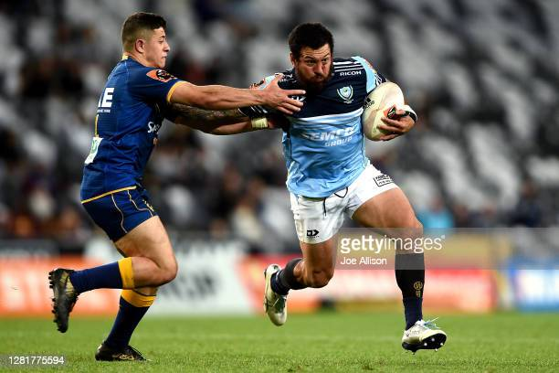 Rene Ranger of Northland attempts to break a tackle during the round 7 Mitre 10 Cup match between Otago and Northland at Forsyth Barr Stadium on...
