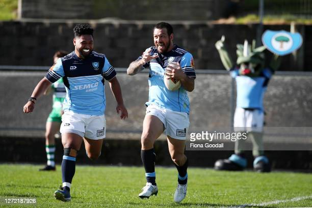 Rene Ranger of Northland celebrates a try with Wiseguy Fiane of Northland during the round 1 Mitre 10 Cup match between Northland and Manawatu at...