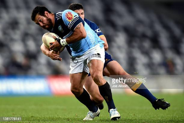 Rene Ranger of Northland is caught by the defence during the round 7 Mitre 10 Cup match between Otago and Northland at Forsyth Barr Stadium on...