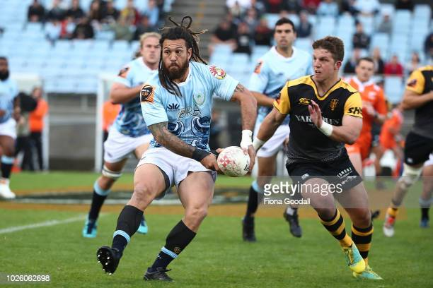 Rene Ranger of Northland looks to pass during the round three Mitre 10 Cup match between Northland and Taranaki at Toll Stadium on September 2 2018...